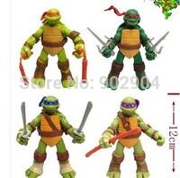 2014 New New version of the Teenage Mutant Ninja Turtles action figure TMNT 1 set of 4 dolls Free shipping