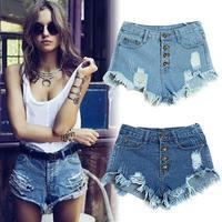 2014 New Women Vintage High Waist Feminino Ripped Hole Ultra Short Jeans Denim Female Distress Shorts Pants Free Shipping
