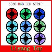 Free shipping 5M RGB LED Strip 5050 Waterproof RGB LED Ribbon Strip Light + 44Keys Remote + 6A Power Adapter Supply Transformer