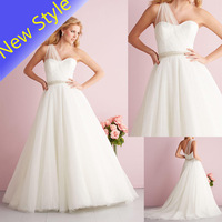 Beauty Simple One Shoulder Plain Bridal Tulle Net Skirt Wholesale Wedding Dresses 2014 For Brides vestido de noiva b10
