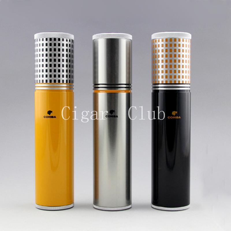 COHIBA Pretty Gadgets Yellow&Black&Silver Travel Portable Aluminium Alloy Cigar Jar Metal Tube Humidor W/ Humidifier Hygrometer(China (Mainland))