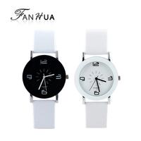 White PU Leather Analog Acrylic Quartz  Wrist Watch New 2014 Fashion&Casual Designer For Women