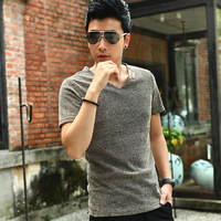 2014 Men's M-5XL Size Fashion Clothing Linen reticularis V-neck Short-Sleeve T-shirt Hollow Breathable Personality Male T-shirt