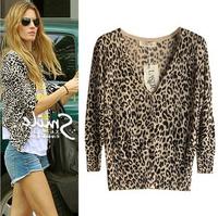 Free shipping New 2014 Hot Sell Fashion Women Cardigans Sale Women Leopard Print Slim Crochet Knit Blouse Sweater