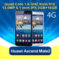 "4G Original Huawei Ascend Mate 2  6.1 inch Magic Touch 6.1""HD Screen with Highest Quad Core 1.6Ghz+2G RAM+16G ROM"
