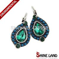 2014 New Women Accessories Vintage Multicolor Beads&Crystal Rhinestone Water Drop Statement Clip Earrings Jewelry