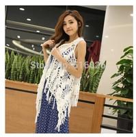 Crochet Fringe Kimono Tops Sleeveless Long Cardigan Crochet Scarf Two-in-one Design