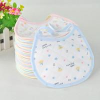 Free Shipping (3 Colors) 10pc/lot 100% Cotton Girl Baby Boy Baby Bib Slobber Towel Cartoon Baby Bib Three Layers Bib