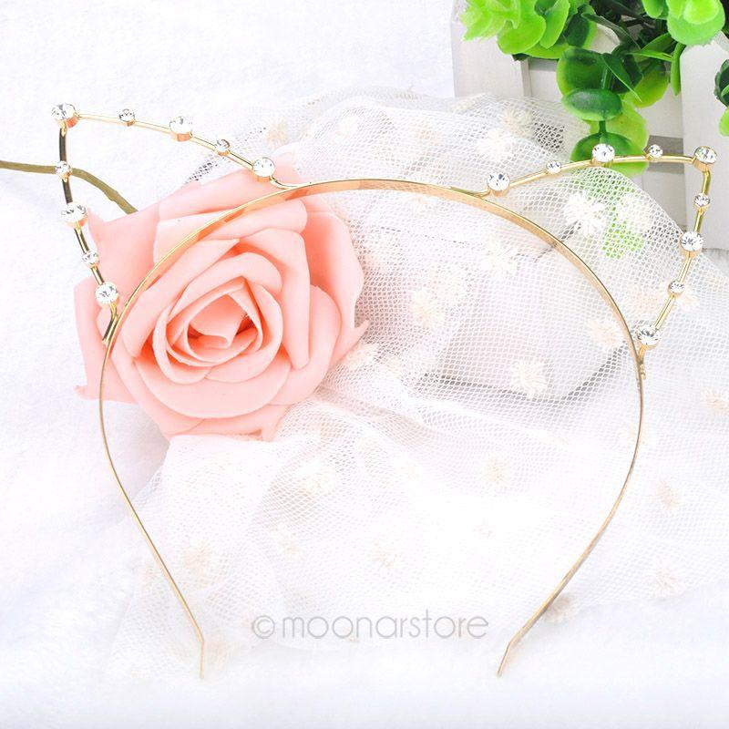 2014 Fashion Party Pearl Crystal Rhinestone Headwear Punk Hair Wrap Cat Ear Headband Silver Gold Color FMPJ060#M1(China (Mainland))