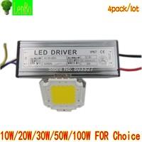 4pack/lot Free shipping!10W 20W 30W 50W 100W LED Flood Light chips and driver 110V 220V 240V White warm