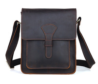 Men leather cross body messenger bag dark brown vintage style bag for iPad crazy horse leather small bag TIDING 11123