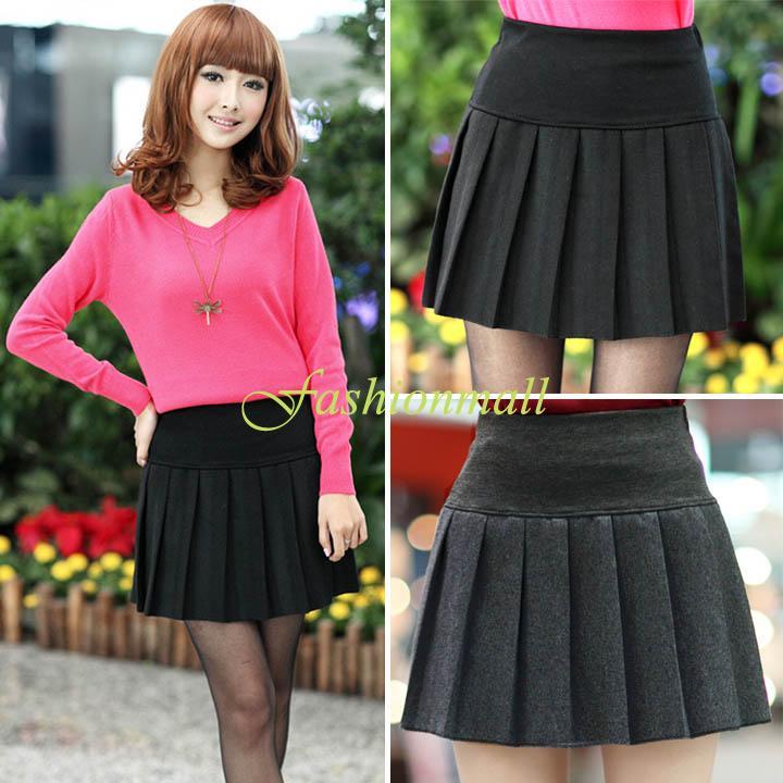 ... uniforme scolaire jupe plissée courte jupe taille haute noir./b4