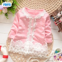 4pcs/lot new 2014 autumn lace baby coat long sleeve baby jacket for girl cardigan baby clothes wholesale PANYA QWH09