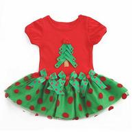 Retail New 2014 Baby Girls Christmas Dress Girl's Short Sleeve Merry Christmas Dress Kids Cotton Dot Casual Dress Free shipping