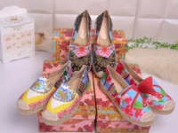 2014 Newest Brand Designer Women Printed Flowers Silk Satin Casual Flats Loafers Espadrilles Shoes Genuine Leather Lining