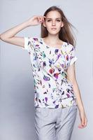 2014 Florial Women Blouses Shirt Chiffon Feminina Top Tee Short Shirt Women Clothing Blusa Camisa Summer Tops Shirt
