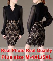 Real Quality High-end Lace+Chiffon Dress Brand+Belt Plus Size XXXXL 5XL Vintage Vestidos Casual Women Clothing Bandage Dress