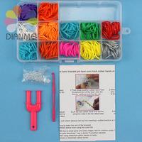 2014 Hot Sale 1pcs Rainbow Colorful Rubber Bands DIY Charms Bracelets Giving Crochet And S-Hook Set Box