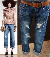 Super Fashion 2014 100% Cotton Women's Loose thin hole Women's Jeans pants female harem Trousers Capris Size 26-34 High Quality