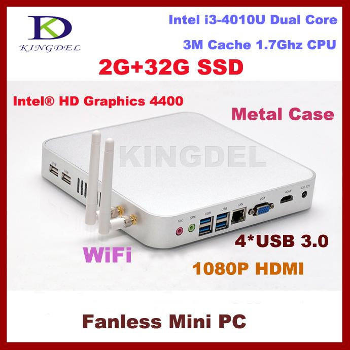 Dual antenna mini pc thin client desktop pc 2G RAM 32GB SSD with Intel Core i3-4010U 1.7Ghz USB 3.0 HDMI VGA fanless+metal case(China (Mainland))