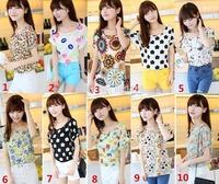 blusas femininas 2014 Women blouse roupas femininas fashion T Shirt Women Loose Fit Batwing Print Pattern TOPS Chiffon T-Shirt