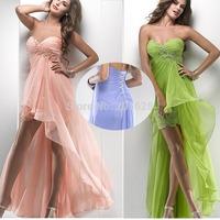 2014 New Fashion Sexy Sweetheart Chiffon Wedding Dress Hot Sale Short Front Long Back Pink Empire Beach Dresses