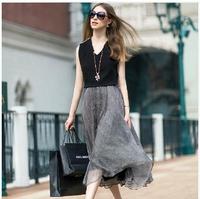 2014 New Fashiong Sexy V-neck dress Women Summer Dress stitching sundress Selling long beach dress XL Fast delivery #901e