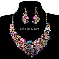 Free Shipping 1set/lot Fashion Colorful Party Bridal Wedding Crystal Rhinestone Earring Necklace Jewelry Sets AL08 WA564-5#