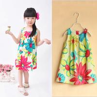 Summer 2014 Girl Print Dress Brand High Quality Flowers Print Girl Dresses Designer Kids Clothes Kids dress Wholesale