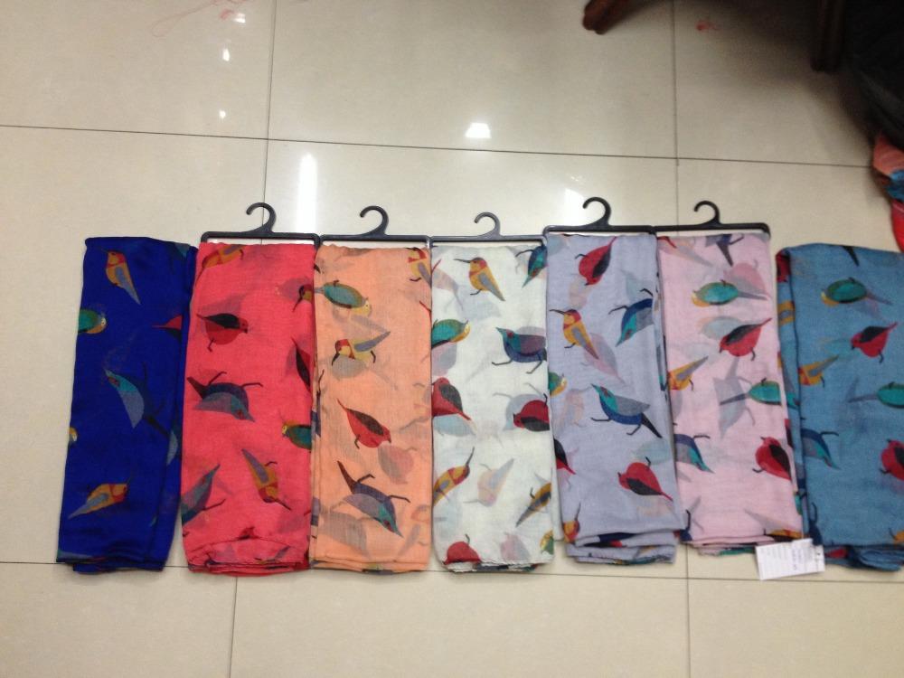 Free shipping! 2014 Fashion Women Bird Scarf Ladies Animal Print Scarf Voile Oversize Shawl 180*110cm(China (Mainland))