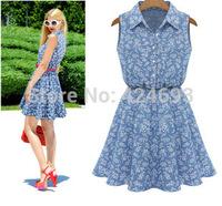 2014 New Arrival summer  women fashion turn-down collar  sleeveless print dress Free shipping 4 dize