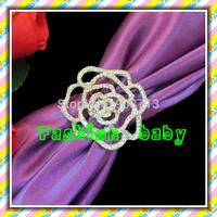 hot selling rhinestone rose flower napkin holders for wedding decorations