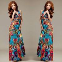 845 free shipping 2014 women clothing new fashion bohemian peacock print halter v neck long maxi dress summer beach dresses