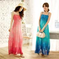 1027 free shipping 2014 summer womens new fashion bohemian chiffon print strap long maxi dress ladies girls cute beach dresses