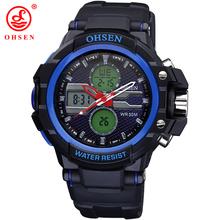 Moda hombres Boy relojes deportes exterior Casual Watch 2 zona horaria de cuarzo Digital LED 30 M impermeable natación buceo militar reloj de pulsera