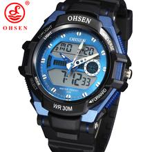 Nueva moda hombres deportes relojes mujeres del reloj de vestir casuales 2 zona horaria de cuarzo Digital LED impermeable natación buceo militar reloj de pulsera