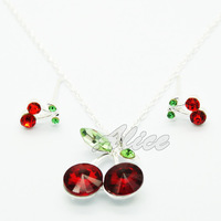 925 Silver Sets Fashion Jewelry Sets Cherry Pendant Necklace Cherry Stud Earrings Silver Jewelry MYS001
