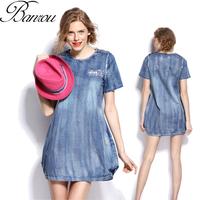 Vintage Denim Dress  Oversize Boyfriend T-shirt Dresses Plus Size Women Clothing