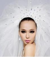 2014 European style diamond wedding dress veil trailing tire multilayer 3.0 meters length