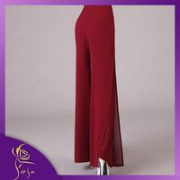 Fashion Lady Plus Szie Studio Pants European Style Chiffon Wide Leg Pants Solid Slit 4XL Big Size Women Long Trousers 2014