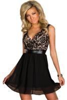 new 2014 sexy summer dress for women autumn  spring dress Black Lace High-waisted Party Dress  vestidos de festa vestido longo
