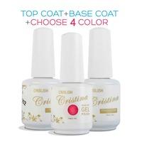 Any 4 Colors +Base +Top Cristina Professional 254 Color Uv Soak Off Varnish Led Gel Nail Polish Temperature Color Change