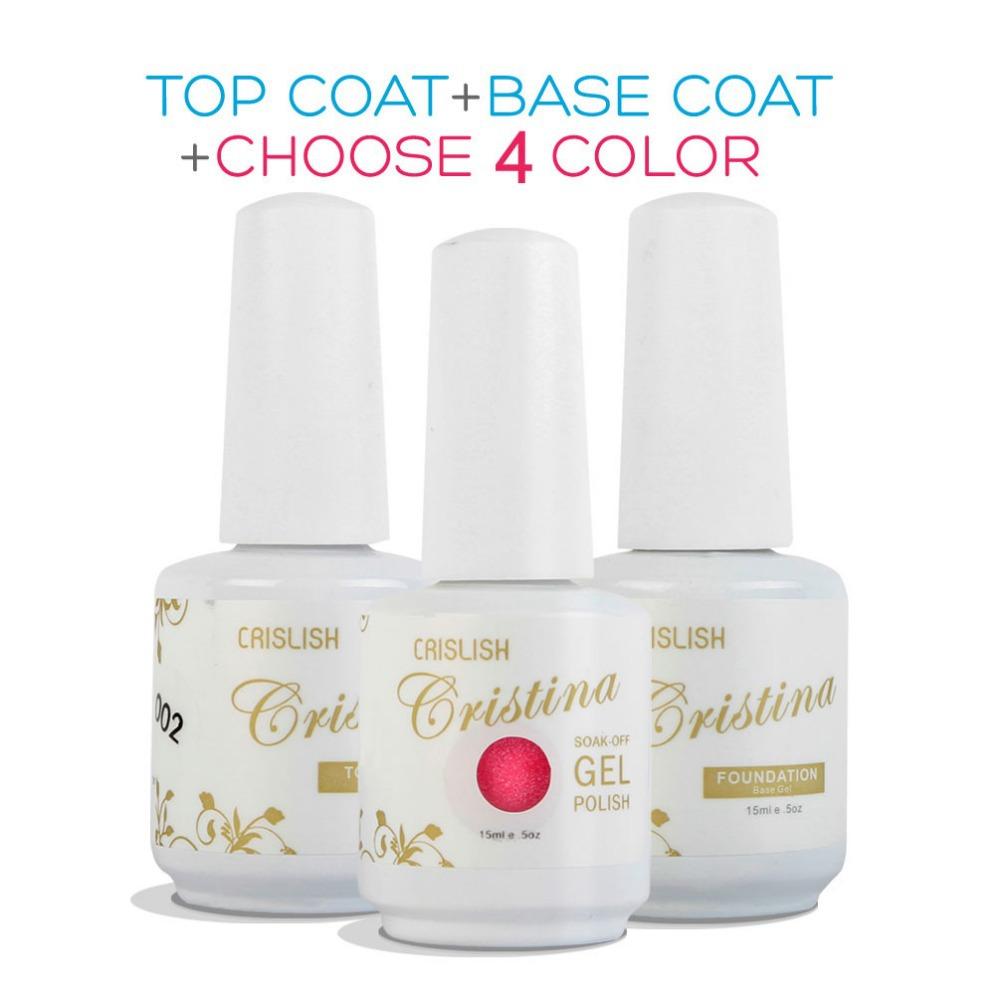 Any 4 Colors +Base +Top Cristina Professional 254 Color Uv Soak Off Varnish Led Gel Nail Polish Bluesky Temperature Color Change(China (Mainland))