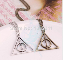 One Pcs free shipping Fashion pendant Triangle Hot movie harry potter -deathly hallows silver Long Chian necklace as gifts