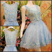 Romantic Flower Scoop A-line Knee-length Short Crystal Bowknot Vestido Bridesmaid Prom Graduation Formal Party Dress(XNE-ED040)
