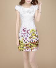 A nova cor de impressão jacquard de algodão russo mercado Couture Outono restaurar antigas formas passo vestido está à venda(China (Mainland))