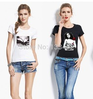 2014 new  Womens t-shirts Bra t shirt letter print short sleeve tops sexy casual blouses T shirts