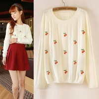 new winter Korean cherry embroidered pullover sweater bottoming sweater