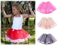 Fashion Summer Girl Skirts Tulle Fluffy Tutu Skirt With Satin Trim In Gray Ribbon 3 Layered Ribbon Sewn  Puffy Tutu Pettiskirt