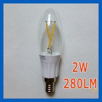 40pcs 2014 new Candle bulb 2W filament Epistar chip 280LM high brightness E14 220-240V Warm white home chandeliers decoration